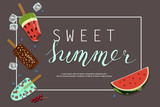 Summer ice-cream menu banner with Berries and fruits for cafes, restaurants, advertising actions, magazines and websites. Vector illustration eps 10