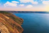 Dniester canyon and river in national park Podillya Tovtry. Bakota, Ukraine.