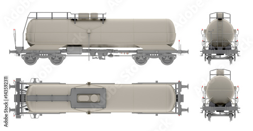 rail tank oil isolated on white 3d rendering Poster