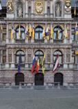 Close-up view of the Antwerp town hall after the 'Ronde Van Vlaanderen' cycling race, Belgium.