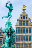 Close up Barbo fountain and guild houses at Grote Markt square in Antwerp, Belgium