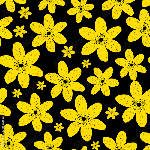 Abstract Natural Seamless Pattern Background with Yellow Flowers - 143604366