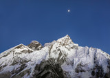 Moon over Mount Everest and Nuptse at sunset (view from Kala Patthar) - Nepal, Himalayas