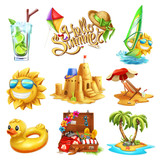 Fototapety Summer set. 3d vector icon