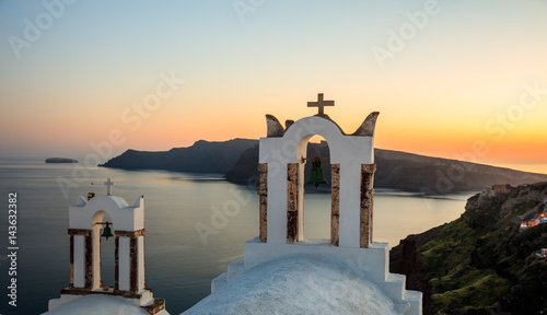 In de dag Rio de Janeiro Sunset over Aegean sea at Santorini island Greece