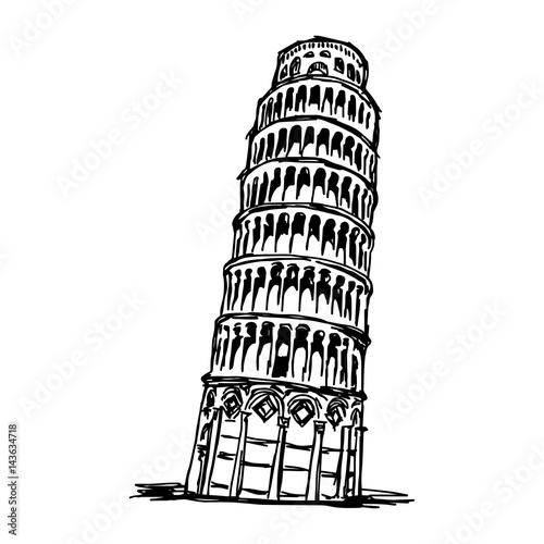leaning tower of pisa - vector illustration sketch hand drawn isolated on white background