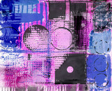 Grunge Stil abstrakte Malerei pink blau