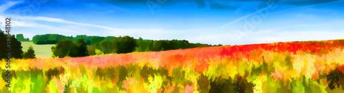 Papiers peints Orange Paysage impressionniste