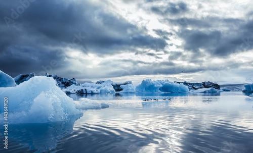 Foto op Plexiglas Antarctica 2 A Family of Ducks and blue ice at Icelake Jokulsarlon. Iceland