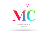 MC M C colored rainbow creative colors alphabet letter logo icon - 143665190