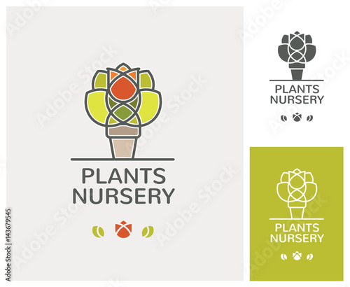 plants nursery, jardinerie, pépinière, plantes, jardin, urbaniste, logo, paysagiste