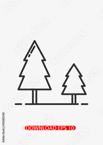 Forest landscape icon, Vector