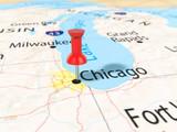 Pushpin on Chicago map