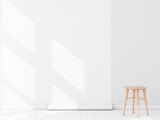 Empty room with White Blank Wallpaper roll Mockup hanging on the wall, chair, 3d rendering - 143686759