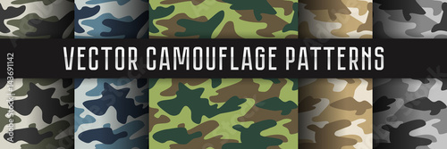 Vector seamless camouflage patterns. - 143691142