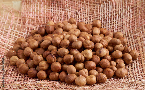 Hazelnuts on napkin
