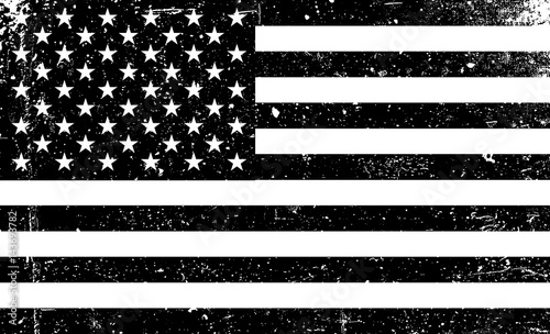 Grunge monochrome United States of America flag. Black and white vector illustration with grunge texture. © pashabo