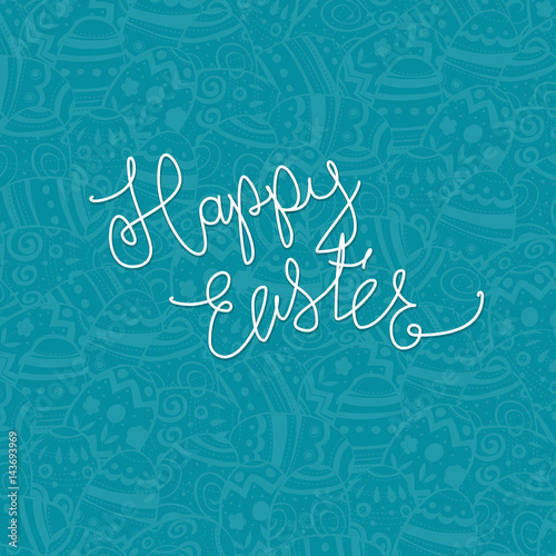 Happy Easter. Eggs pattern monochrome background. Holiday design template.