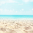 Quadro Sand beach tropical with blurred sea sky and sunny background, summer day, copy space or for product.