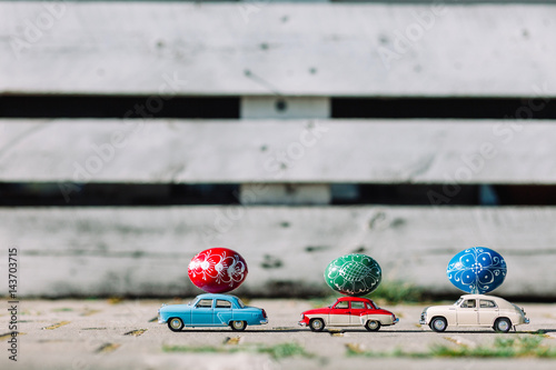 Easter eggs decoration. Festive card background for a Happy Easter.