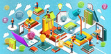 Fototapety Online education Isometric flat design. The concept of reading books in the library and in the classroom. Concept of education. Learning process. University studies. Vector illustration