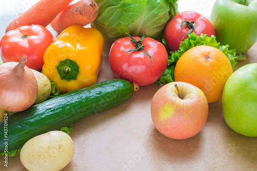 Fresh and ripe vegetables and fruits on the table.
