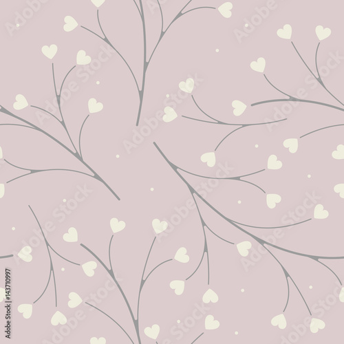 Spring  seamless pattern with decorative plants - 143710997