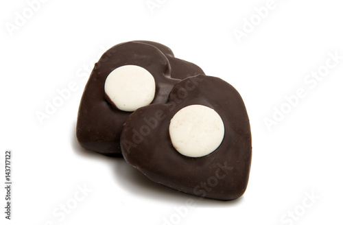 Poster Cookie heart in chocolate isolated