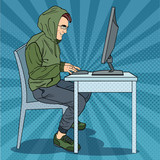 Fototapety Hacker Hooded Man Stealing Information from Computer. Cyber Crime. Pop Art retro vector illustration