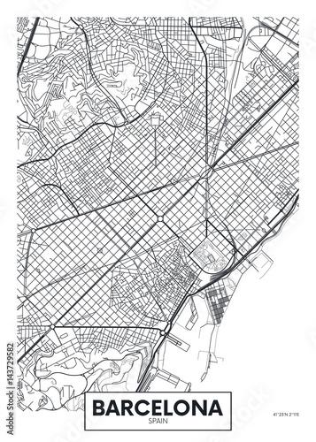 Vector poster map city Barcelona