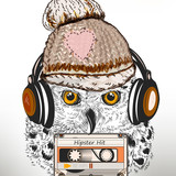 Hipster fashion illustration with white owl listen music in headphones. Ideal for T-shirt prints designs