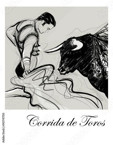 Papiers peints Art Studio Bull charging a bullfighter