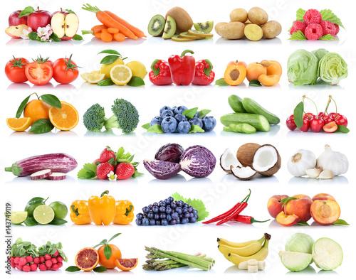 Obst und Gemüse Früchte Sammlung Apfel Tomaten Orange Weintrauben Bananen Beeren frische Freisteller freigestellt isoliert