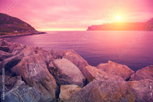 Staande foto Candy roze Fjord, rocky beach at pink rose sunset, nature Norway. Senja island. Beautiful bay.