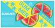 Hello summer background with watermelon , vector , illustration