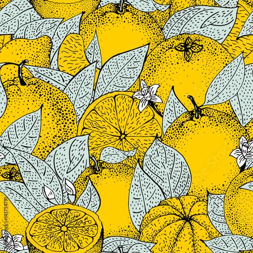 wzor-wyciagnac-reke-pomaranczy-i-plastry-w-styl-szkic-ilustracji-wektorowych