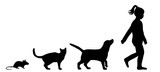 Illustration, vector, silhouette of dog cat and mouse and child - 143755146