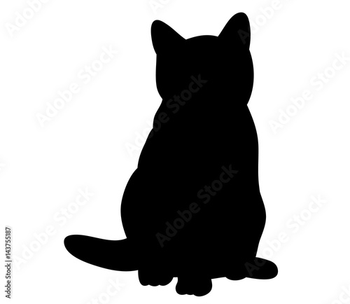 Illustration, vector, silhouette of kitten