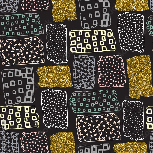 Vector seamless pattern with hand drawn gold glitter textured brush strokes - 143756190