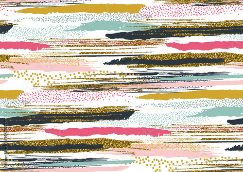 Materiał do szycia Vector seamless pattern with hand drawn gold glitter textured brush strokes