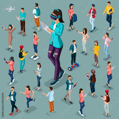 Trendy Isometric people and gadgets, 3D teenagers, students, large group of people, using hi tech technology, a girl playing, virtual glasses, headphones isolated