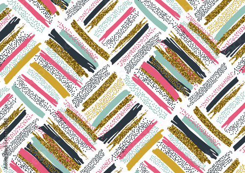 Vector seamless pattern with hand drawn gold glitter textured brush strokes - 143763363