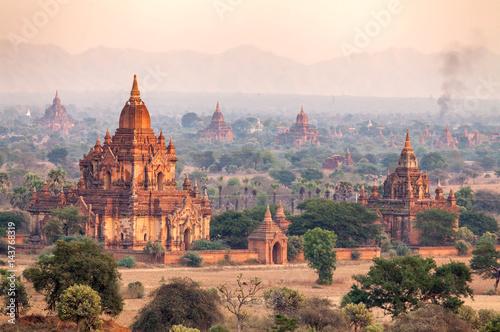 Poster landscape of Pagodas in Bagan, Myanmar (Burma)