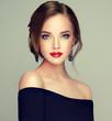 Leinwanddruck Bild - Beautiful model girl  with elegant hairstyle . Woman with fashion style makeup