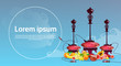 Hookah Set With Fruits Arabian Smoking Pipe Flat Vector Illustration