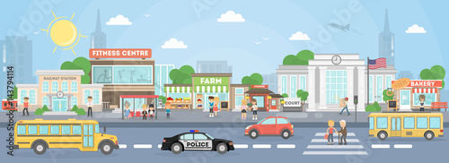 City street exterior. American city with court, fitness center and school bus, police car and stores. - 143794114
