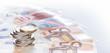Leinwanddruck Bild - Euromünzen im Stapel auf  Eurogeldscheinen, Panorama, Hintergrund