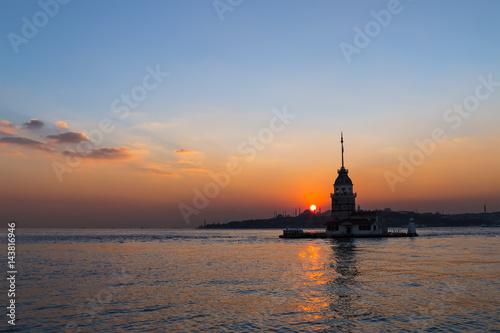 Night photo Maiden Tower, Istanbul, Turkey Poster