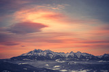Poland, landscape, Tatra mountains under cloudy sky during sunrise, winter