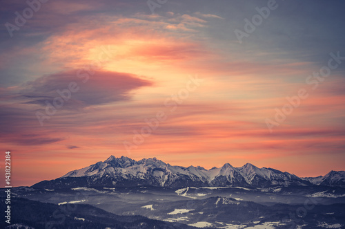 Poland, landscape, Tatra mountains under cloudy sky during sunrise, winter